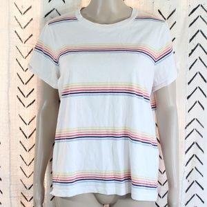 Madewell Rainbow Striped Crewneck Shirt Size XL